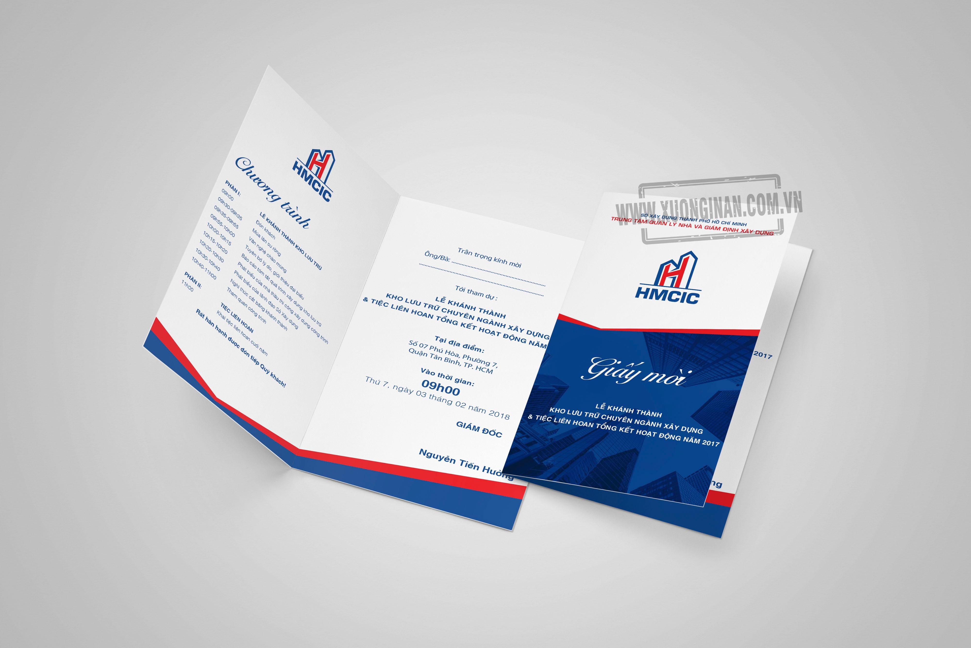 Trọn bộ ấn phẩm nhận diện thương hiệu cho HMCIC - In Thiệp Mời